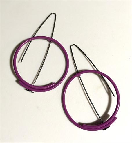 Earring: Medium Circle in Purple
