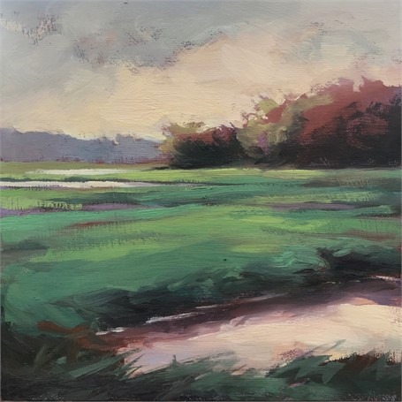 "Margaret Gerding | Morning Light-Day 17 | Oil on Panel | 8"" X 8"" 