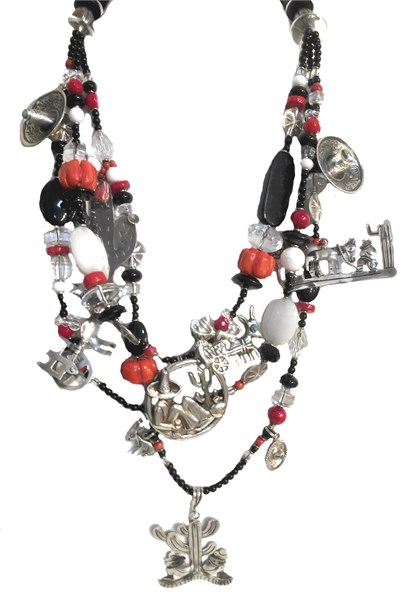 KY 1230 Vintage Mexican Silver Charms - Black onyx, coral, silver hombres, donkey, charms