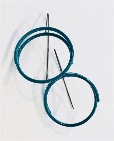 Earrings: Medium Conctinuous Cirlce in Teal