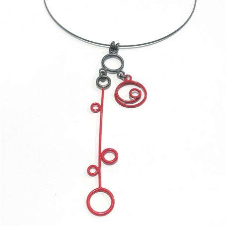 Powder Coated Necklace: 3 Charm in Red