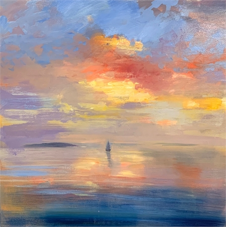 "Craig Mooney | Sunrise | Oil on Canvas | 38"" X 38"" 