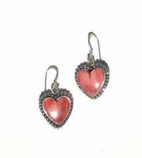 Earrings - Sterling Silver Wires & Spiny Oyster Heart  1575