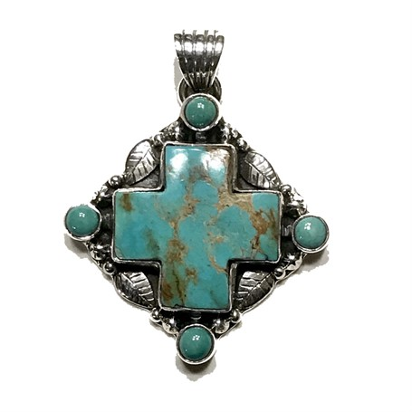 Pendant - Southwest Cross Turquoise