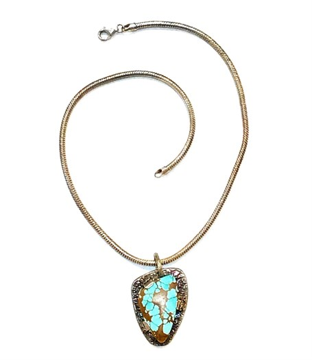 Necklace - Royston Turquoise and Silver Pendant with Silver 16