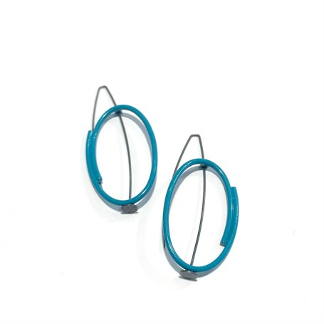 Powder Coated Earrings: Small Vertical Oval in Teal
