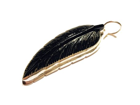Pendant - Onyx Feather & Sterling Silver