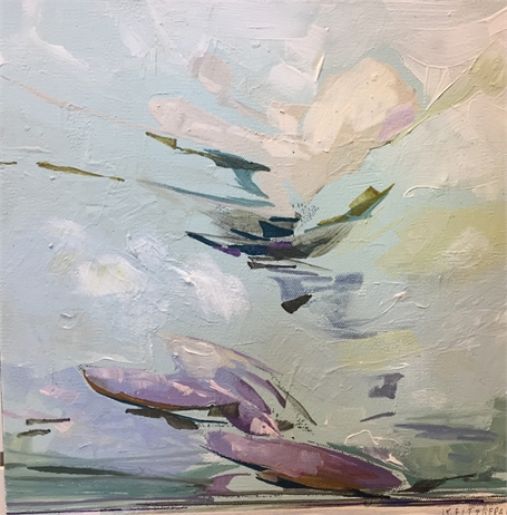 "Jeffrey T. Fitzgerald | Looking East #2 | Acrylic on Canvas | 12"" X 12"" 