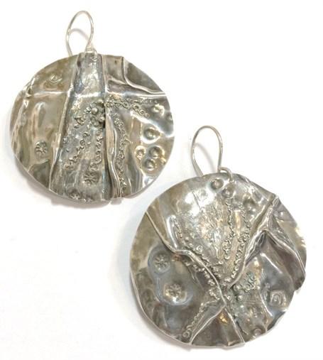 Earrings - Sterling & Fine Silver - Fold Formed Round  2527