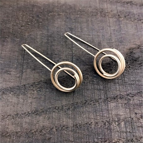 Sterling Silver Earrings: Small Circle in Circle