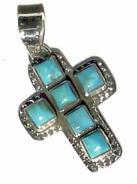 Pendant - Small Turquoise Square Cross