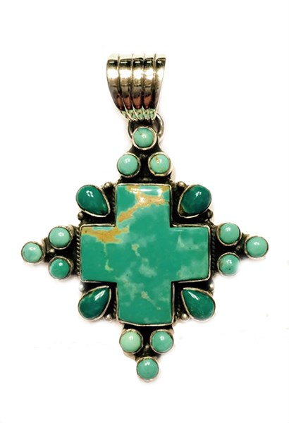 Pendant - Turquoise Cross with Turquoise