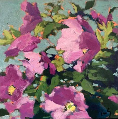 "Margaret Gerding | Beach Roses | Oil on Panel | 8"" X 8"" 