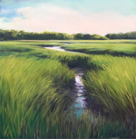 "Margaret Gerding | Blades of Green | Oil on Panel | 36"" X 36"" 