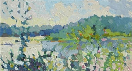 "Henry Isaacs | Lake Bunyoni, Uganda | Oil on Panel | 8"" X 14"" 