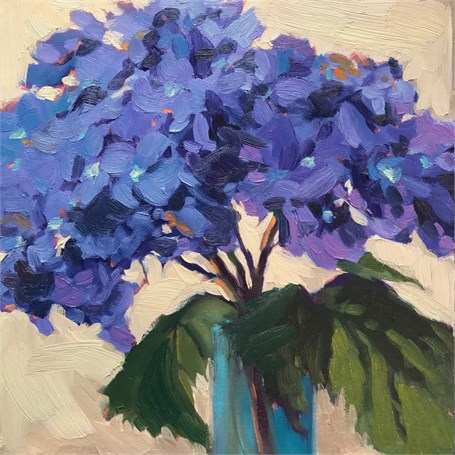 "Margaret Gerding | Day 10 (Hydrangea) | Oil on Panel | 8"" X 8"" 