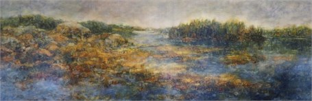 "Susan Wahlrab | Sea Level | Varnished Watercolor on Archival Claybord | 12"" X 36"" 