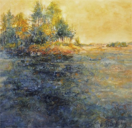 "Susan Wahlrab | Seaward | Varnished Watercolor on Archival Claybord | 16"" X 16"" 