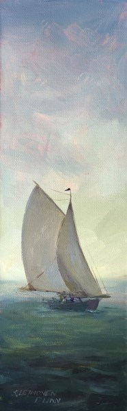 "Sandra L. Dunn | Full Sail | Oil on Canvas | 12"" X 4"" 