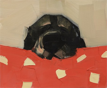 "Rebecca Kinkead | Alarm Clock No. 2 | Oil and Wax on Linen | 10"" X 12"" 