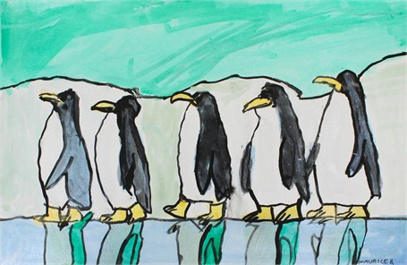 Penguins Walking (FRAMED)