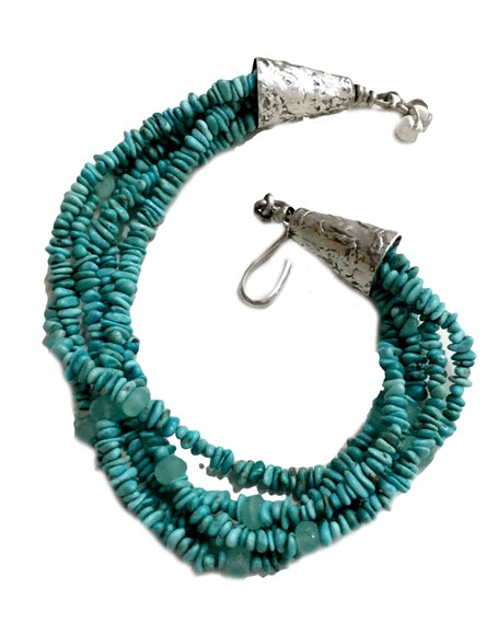 Necklace - Multi Strand of Turquoise & Chalcedony RW 219