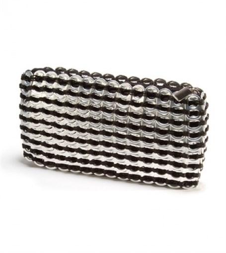 Mini Clutch - Black Crocheted Pull Tab