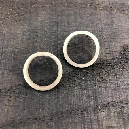 Sterling Silver Earrings: Square Stock Circle on Post
