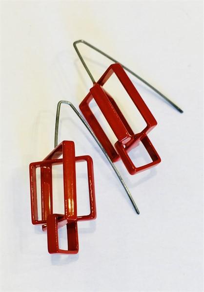 Earrings: 3 Medium Red Squares