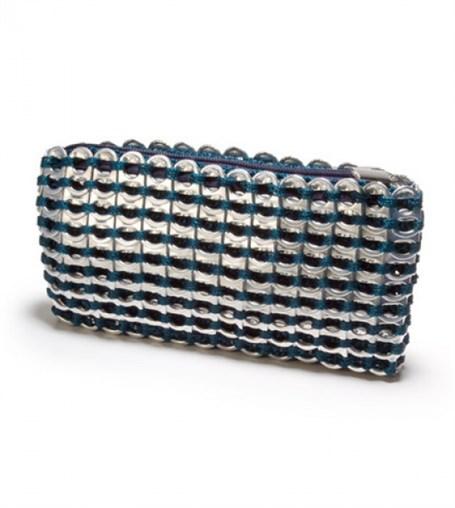 Mini Clutch - Teal Crocheted Pull Tab