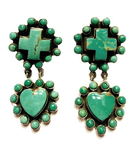 Earrings - Turquoise Heart & Cross with Turquoise Surround