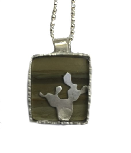 Necklace - Prickly Pear Silhouette With Green Picture Jasper