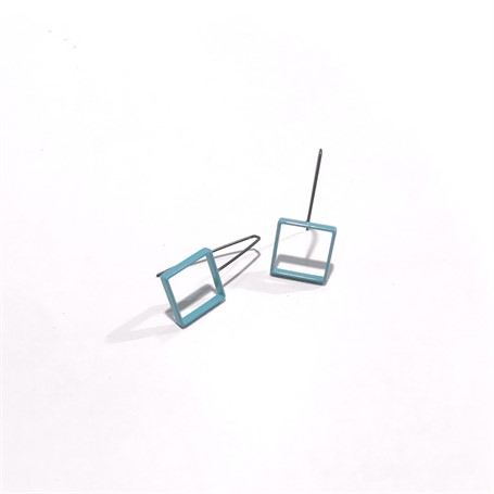 Powder Coated Earrings: Small Pale Blue Square