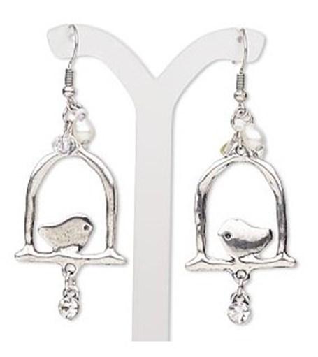 Earrings - Bird on Perch w/Charms