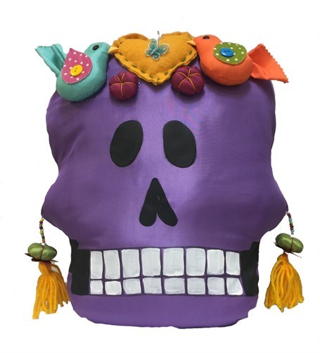 Pillow - Calavera Grande - Hand-painted fabric and sewn - Purple with Yellow Heart & Birds