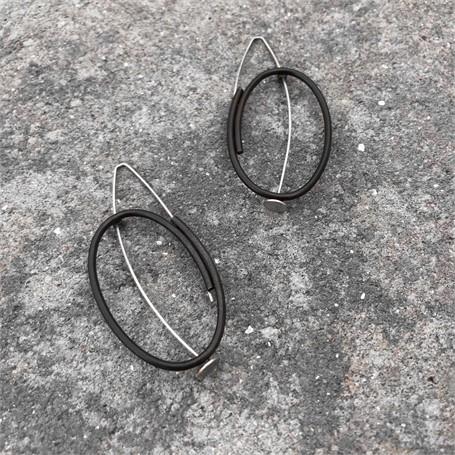 Steel/Sterling Silver Earrings: Large vertical oval in steel and sterling