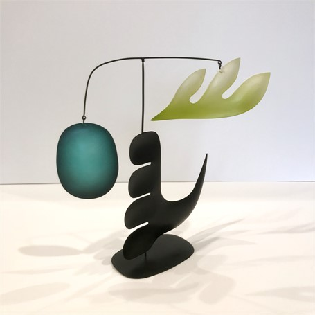 "Mark Davis | Dreaming of Peace | Brass and Aluminum with Steel Wires, Oil and Acrylic Colors | 13"" X 14"" 