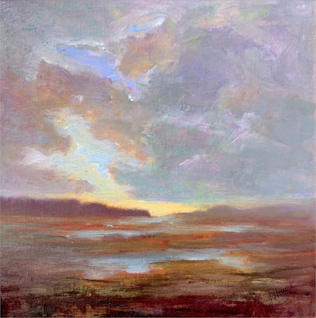 "Julie Houck | Reflective Moment | Oil on Linen Mounted on Panel | 12"" X 12"" 