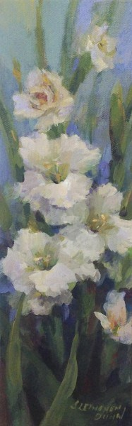 "Sandra L. Dunn | White Gladiolas | Oil on Canvas | 12"" X 4"" 