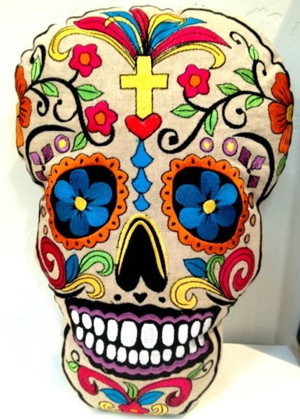 Calavera - Skull Pillow with Yellow Cross