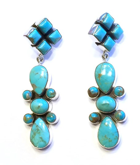 Earring - Square Turquoise Drop