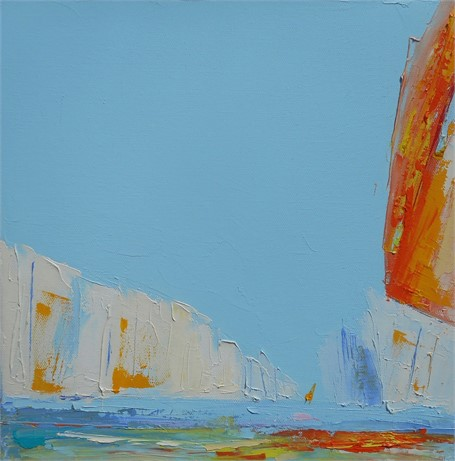 "Janis H. Sanders | Summer Sail VIII | Oil on Canvas | 12"" X 12"" 