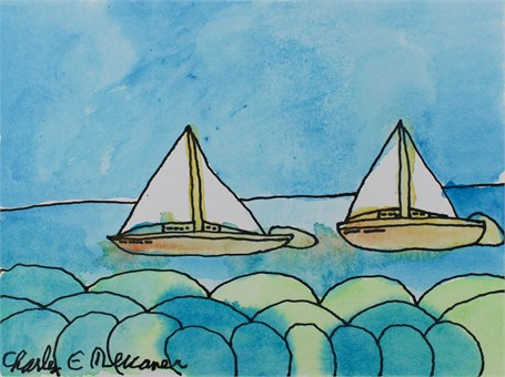 Two Boats with Trees