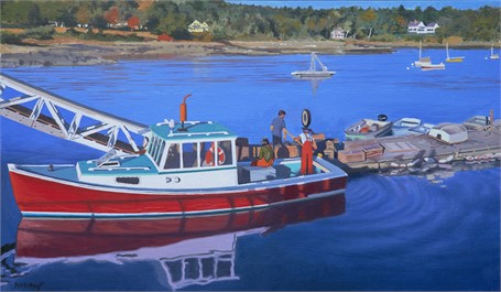 "William B. Hoyt | Red Lobsterboat Unloading | Oil on Panel | 14"" X 24"" 