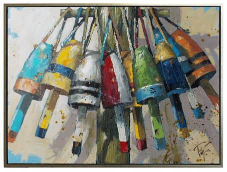 "Trip Park | Late Night Buoys | Acrylic and Mixed Media on Canvas | 30"" X 40"" 