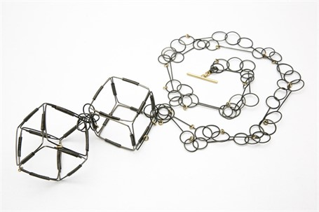 Necklace: Squares, Steel and Gold