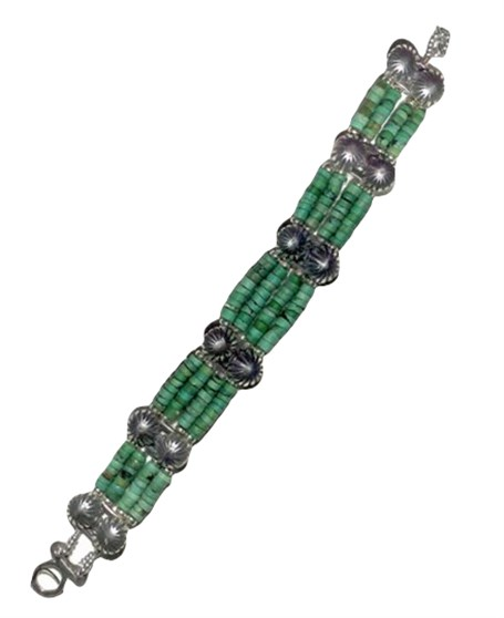 Bracelet - Silver Navajo Buttons & Turquoise Hishi