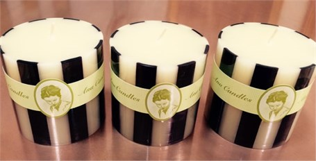 Handcrafted Candle - Pillar in Ivory/Black
