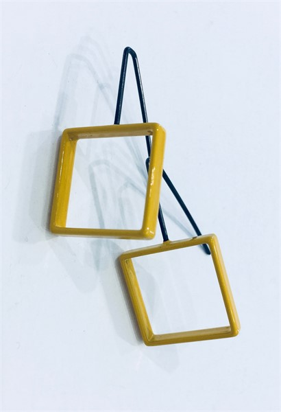 Earrings: Small Mustard Square