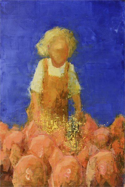 "Rebecca Kinkead | Early Riser (Piglets) | Oil and Wax on Linen | 60"" X 40"" 